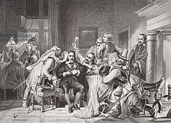 Постер Деларош Ипполит Charles I in the guard room insulted by Oliver Cromwell's soldiers