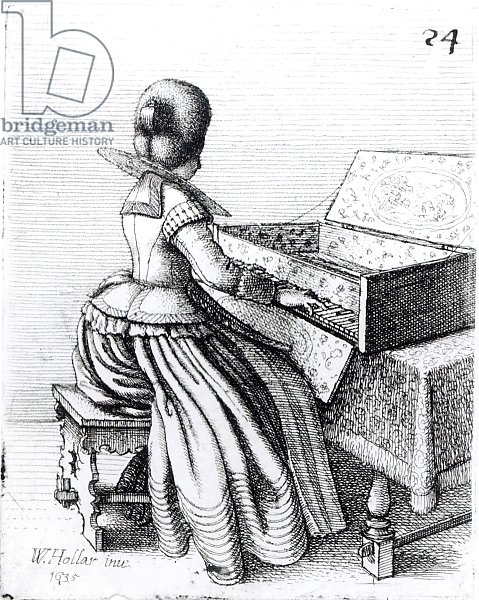 Постер Холлар Вецеслаус (грав) Woman Playing at a Keyboard, 1635