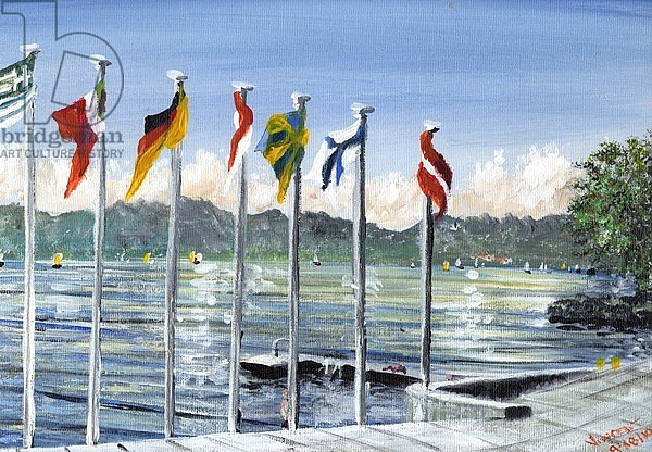 Flags on Lac Leman, 2010,