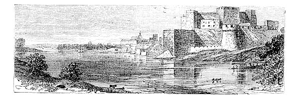 The castle of Brindisi vintage engraving.