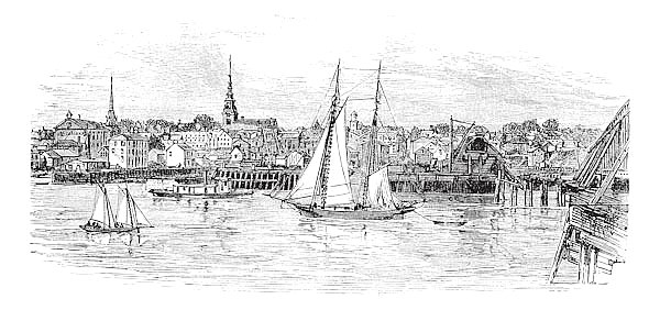 Newburyport in Massachusetts, USA, vintage engraved illustration