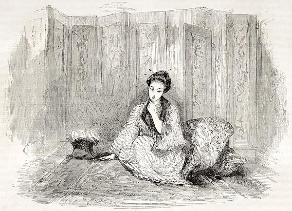 Japanese lady engraved portrait. Created by Marin after Trevise, published on Le Tour du Monde, Pari