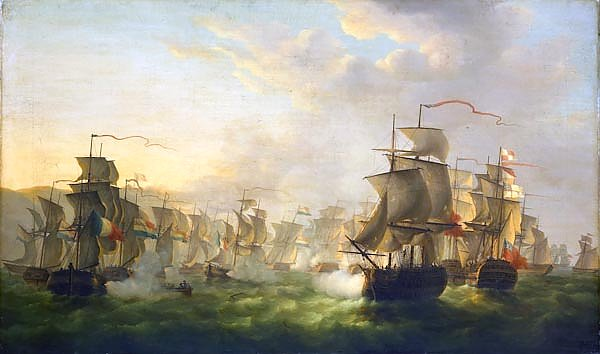 The Dutch and English fleets meet on the way to Boulogne