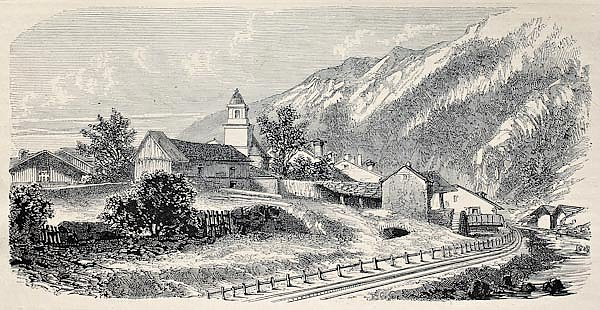 Mont Cenis railway station at Lanslebourg. Created by De Bar and Cosson-Smeeton, publ. on L'Illustra