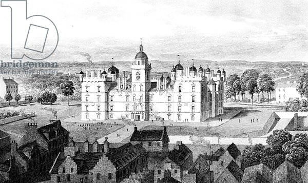 Heriot's Hospital, from the Castle Hill, engraved by William Watkins, c.1830