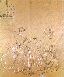 Постер Ингрес Джин Countess Charles d'Agoult and her daughter Claire d'Agoult, May 1849