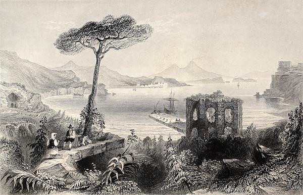 Naples bay, Italy. Original, created by W. H. Bartlett and and T. A. Prior,  published in Florence,