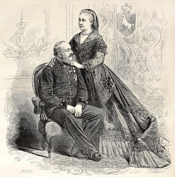 Royal couple of Hanover: King George V and Queen consort Marie. Created by Pauquet, published on L'I