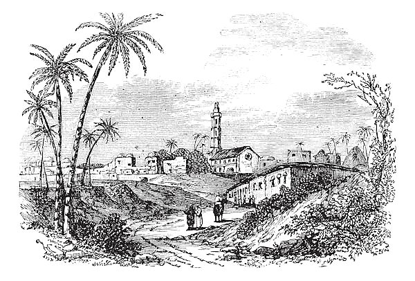 Gaza or Gaza City in Palestine vintage engraving