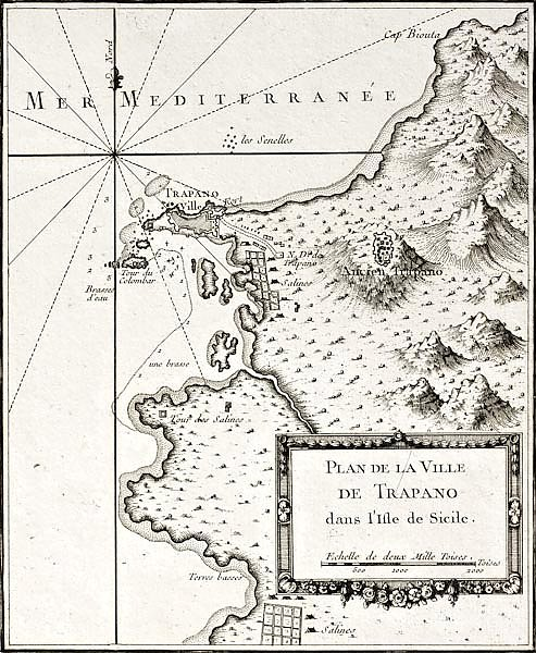 Trapani and surrounding territories. The original map was created by Bellin and was published around