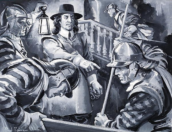 Oliver Cromwell and his Roundheads search a house for Royalists