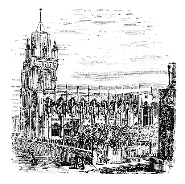 Saint Mary Redcliffe - Anglican church in Bristol, England (United Kingdom). Vintage Engraving from