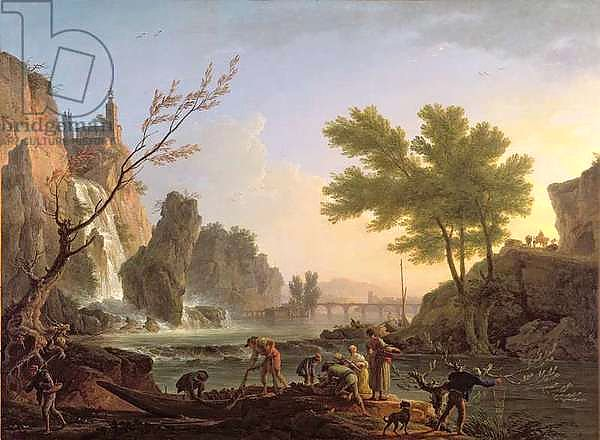 Fisherman in a landscape with a cascade and a bridge
