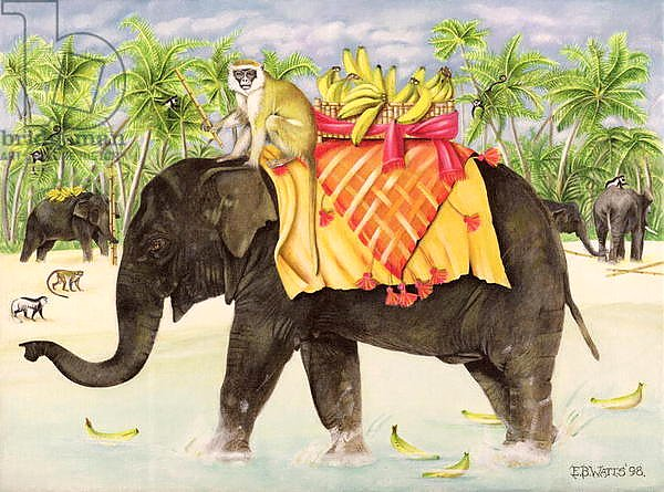Elephants with Bananas, 1998