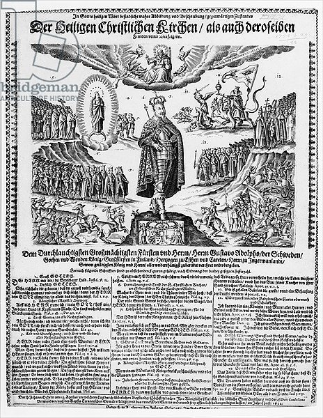 A German broadsheet depicting Gustavus Adolphus as the Champion of the Protestant Cause