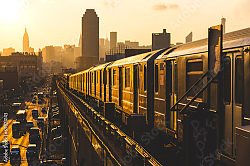 Постер США, Нью-Йорк. Subway Train at Sunset