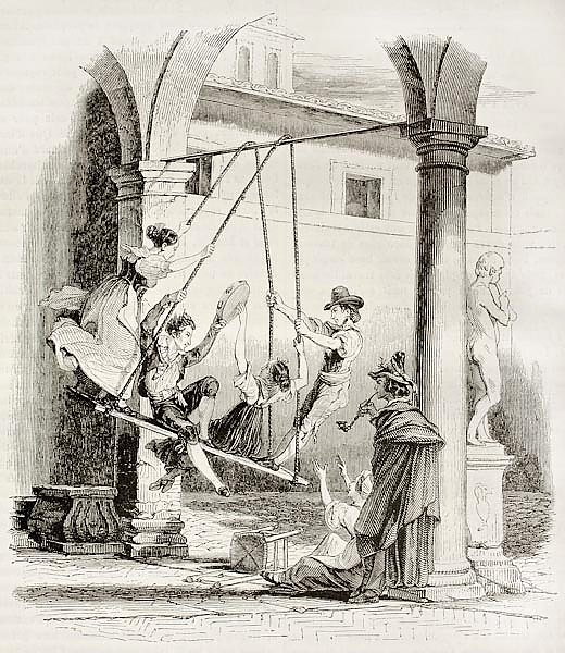 Canofiena old illustration (antique Italian swing). Published on Magasin Pittoresque, Paris, 1842