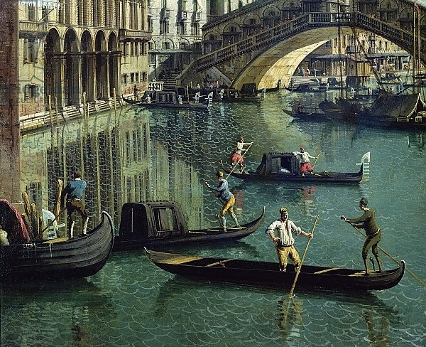 Gondoliers near the Rialto Bridge, Venice