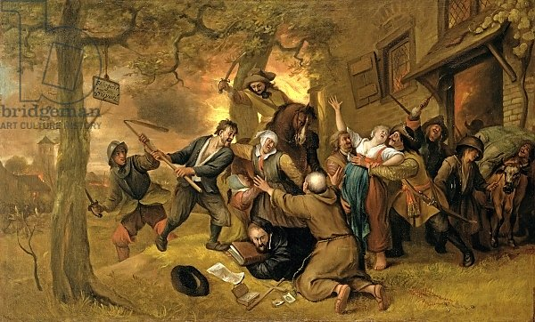 Peasants and Soldiers Outside a Tavern - An Allegory of the Rape of the Netherlands