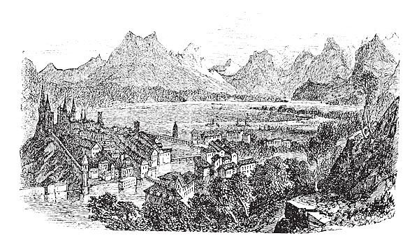 Lucerne in Switzerland vintage engraving