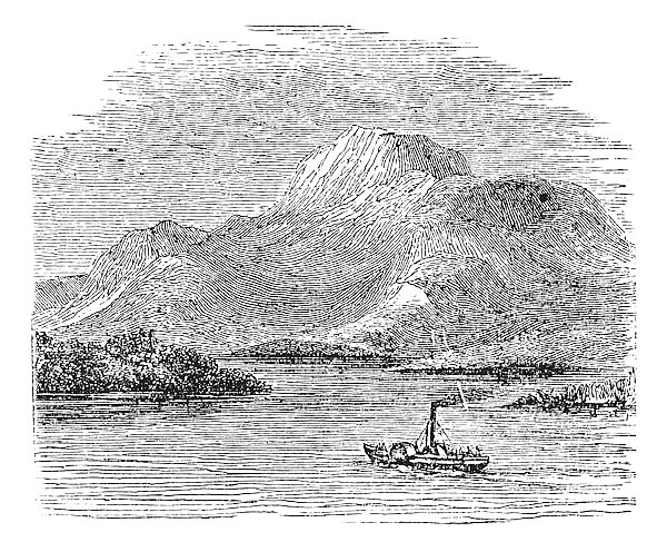 Loch Lomond on Highland Boundary Fault Scotland vintage engraving