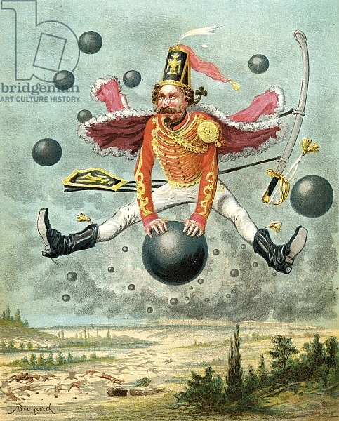 Baron Munchausen riding a cannonball during the fight with Tippoo, c.1886