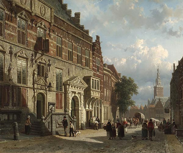 The Town Hall on the Burchtstraat with St Steven's Church beyond, Nijmegen