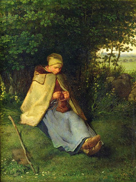 A Knitter or a Seated Shepherdess Knitting, 1858-60