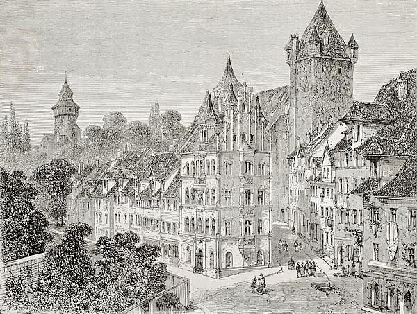 Panierplatz in Nuremberg, Germany. Created by Therond, published on Le Tour du Monde, Paris, 1864