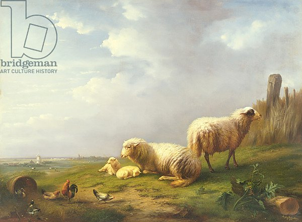 Sheep and chickens in a landscape, 19th century