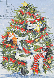 Постер Кук Давид (совр) Snowmen in a Christmas Tree, 1999