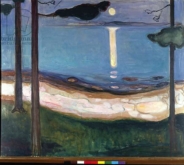 Moonlight Nordic landscape. Painting by Edvard Munch 1895 Dim. 93x110 cm Oslo, Najonal Galleriet