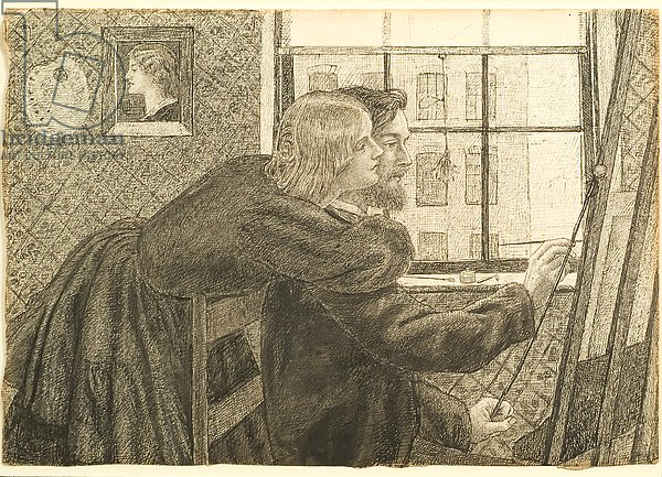 G P Boyce with Fanny Cornforth at Rossetti's Studio, Chatham Place, c.1858