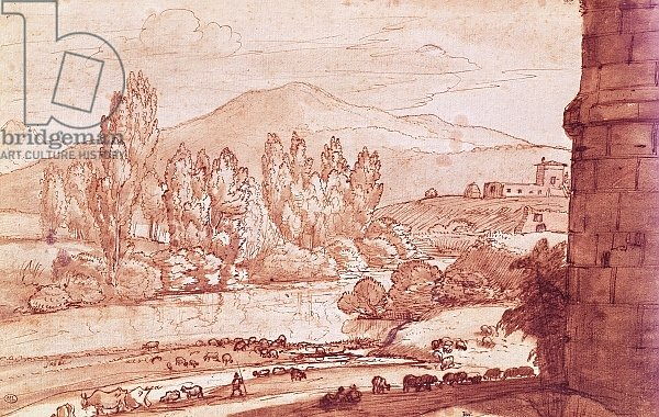 Landscape with a river, a herd of cattle and a herdsman