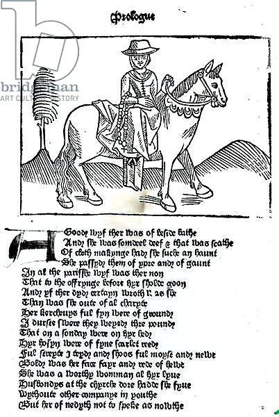 The Wife of Bath, illustration from Geoffrey Chaucer's 'Canterbury Tales', printed by William Caxton