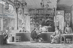 Постер Аллом Томас (грав) Cap Vendor's Shop, Canton, from 'China in a Series of Views' by George Newenham Wright, 1843