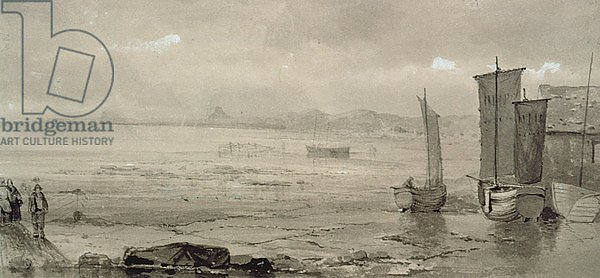 Seashore Study: Low Tide, with Fishing Boats and Fisherfolk, 19th century