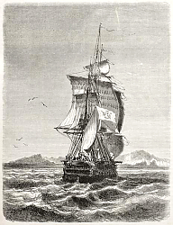 Постер Frigate Novara of the Austro-Hungarian Navy. Created by Jules Noel, published on Le Tour du Monde, P