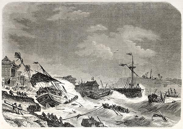 Storm damaging ships in the cost of Macao. Created by De Berard, published on L'Illustration Journal