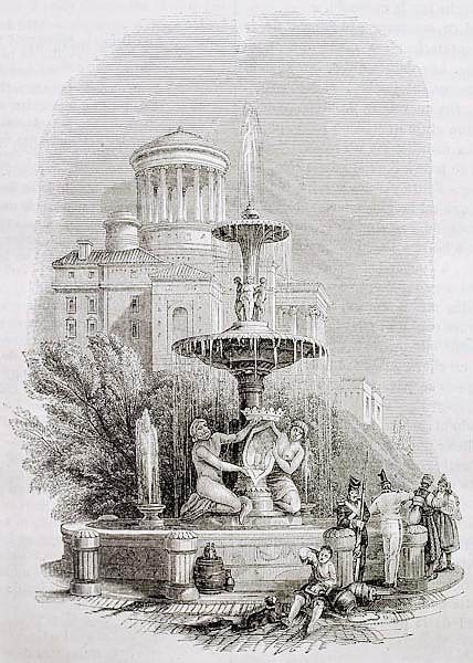 Fountain of the Prado old illustration, Madrid. By unidentified author, published on Magasin Pittore