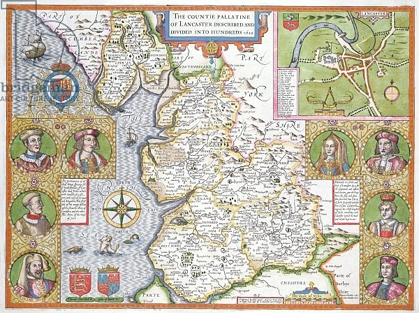 Lancashire in 1610, from John Speed's 'Theatre of the Empire of Great Britaine'