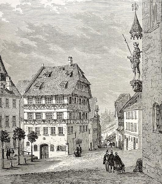 Albrecht Durer house in Nuremberg, Germany. Created by Thrond and Terington, published on Le Tour du