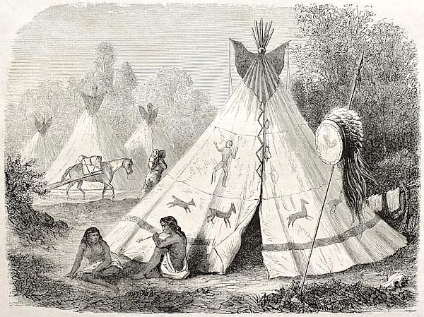Tepee in Comanche native American camp. Created by Duveaux. Published on Le Tour du Monde, Paris, 18