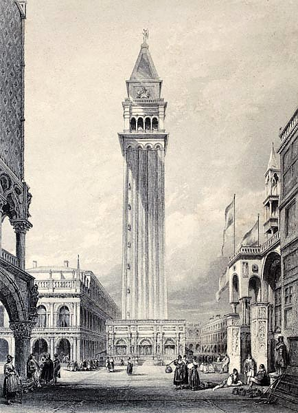 St. Mark's bell tower in Venice, Italy. Original, created by W. L. Leitch and E. Benjamin, published