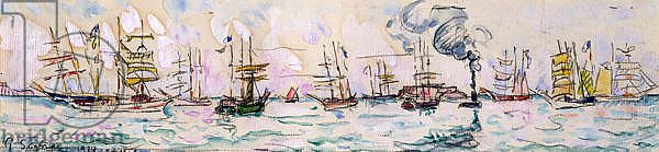 Постер Синьяк Поль (Paul Signac) The Departure of the Fishing Trawlers to Newfoundland, 1928