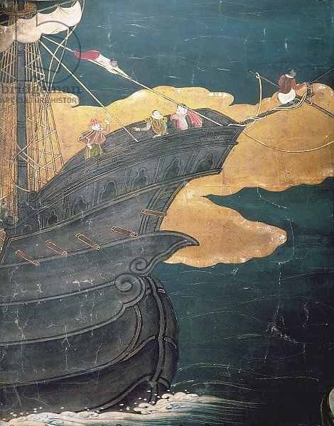 The Arrival of the Portuguese in Japan, detail of ship's prow, from a Namban Byobu screen, 1594-1618