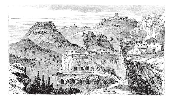 Countryside view of Castrogiovanni vintage engraving