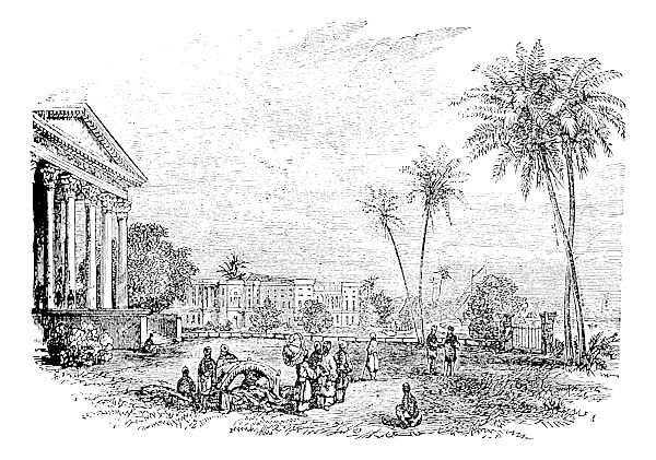 Barrackpore or Barrackpur, in West Bengal, India, vintage engraving (1890)