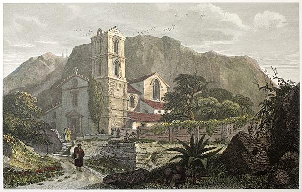 Santa Croce church old view,  Sicily. Created by De Wint and Cooke,  publ. in London, 1821. Ed. on S