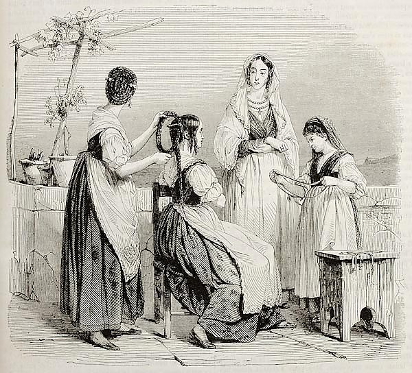 Women of central Italy. By unidentified author, published on Magasin Pittoresque, Paris, 1842